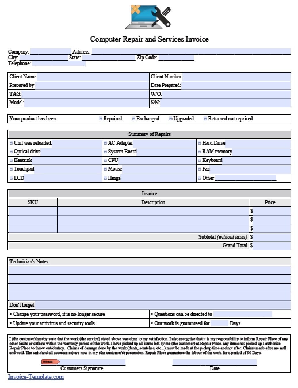 Free Computer Repair Service Invoice Template