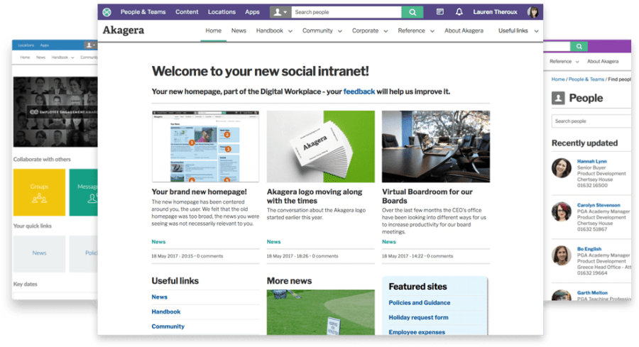 Intranet homepages screens