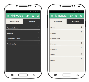The Invotra app for mobile working, displaying an intranet and portal menu