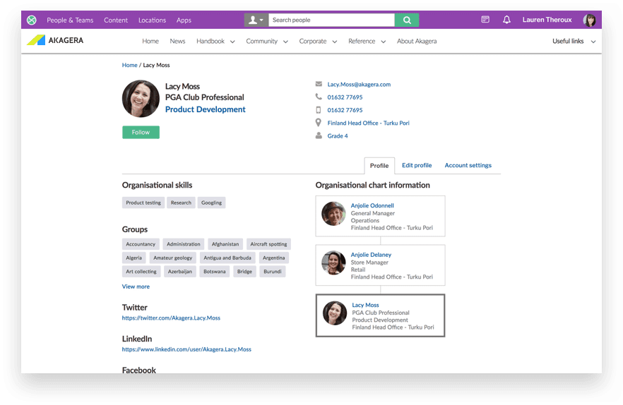 Intranet profile page showing contact and org chart features