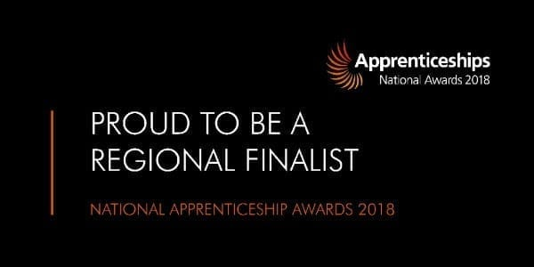Proud to be a regional finalist in the National Apprenticeship awards logo for regional finalist