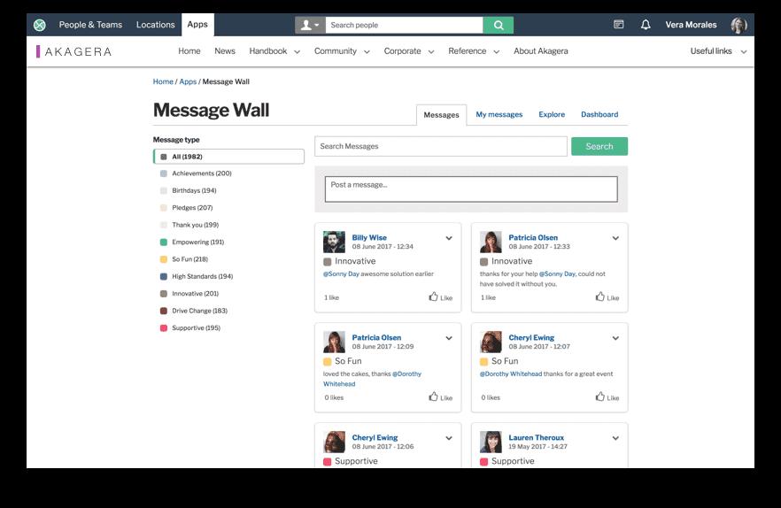 Message wall screenshot