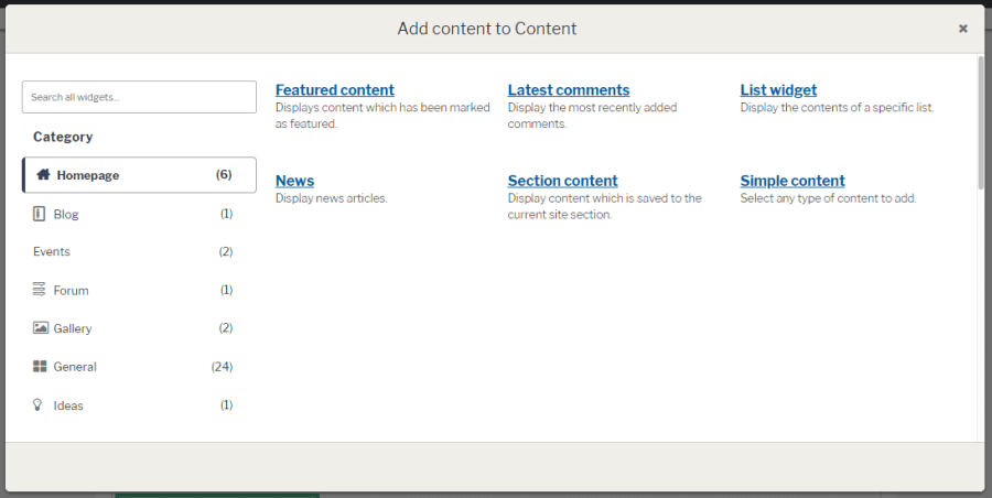 Widget option page for content creation