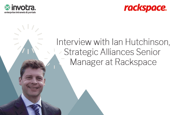Interview with Ian Hutchinson Strategic Alliances Senior Manager at Rackspace, with image of Ian Hutchinson and Rackspace logo