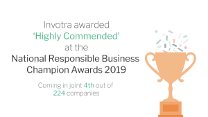 Invotra awarded highly commended at the National Responsible Business Champion Awards 2019