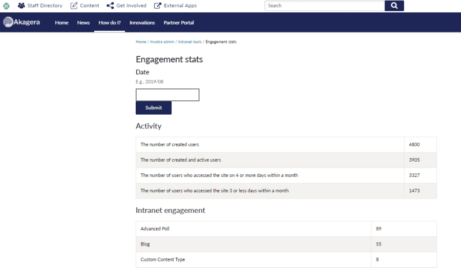 Engagement statistics with date range field and statistics for the activity and numbers of users