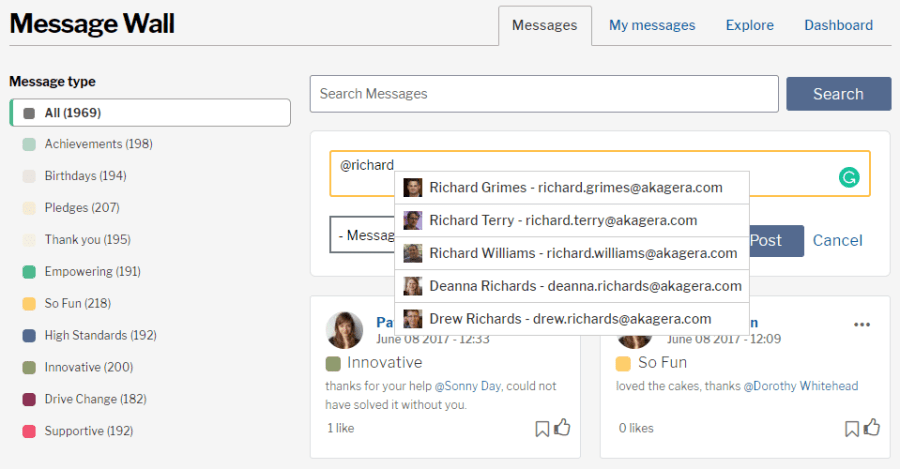 An autocomplete search with the message wall application, displaying possible results for a user with the name richard.
