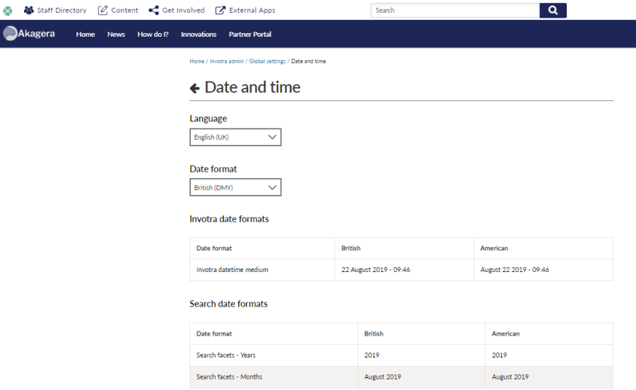 Date and time settings page within the global settings options