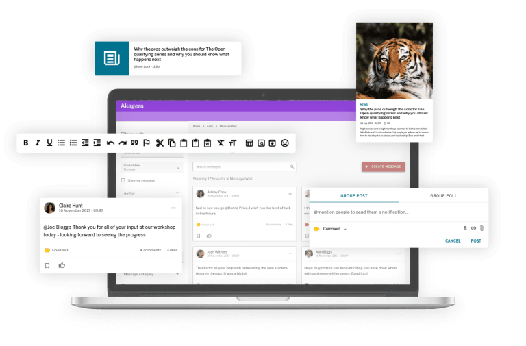 Product features including message wall posts, news widgets, the wysiwyg, group posts and broadcasts