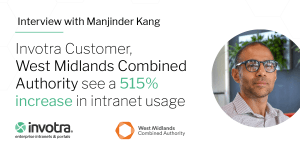 Interview with Majinder Kang (pictured). Invotra Customer West Midlands Combined Authority see a 515% increase in intranet usage