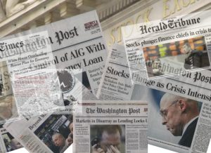Newspaper montage markets crash