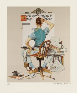 """""""Deadline"""", lithograph by Norman Rockwell. Printed by me at Atelier Ettinger, 1977."""