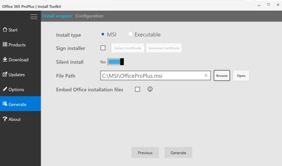 Configure format file for Office 365 setup file