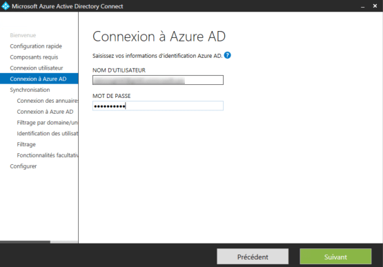 Enter credential Azure AD