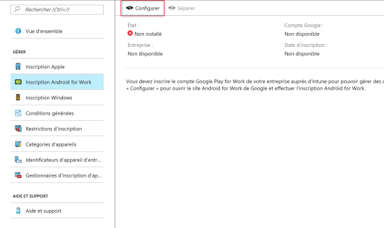 Configure Android Work Intune