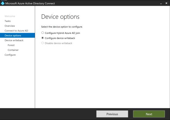 Configure device writeback
