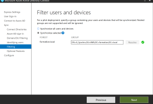 Enter group for filtering synchronisation azure ad Azure AD Connect