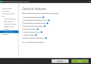 Optional feature Azure Ad Connect