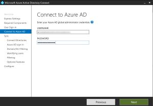 Connexion Azure AD pour Azure AD Connect