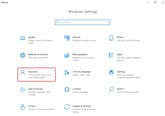 Accounts on Windows Settings
