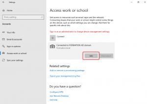 Select Info button  Windows 10 Auto-enrollment