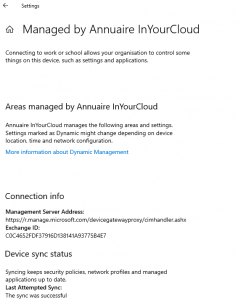 Information about the connection and sync status  Windows 10 Auto-enrollment