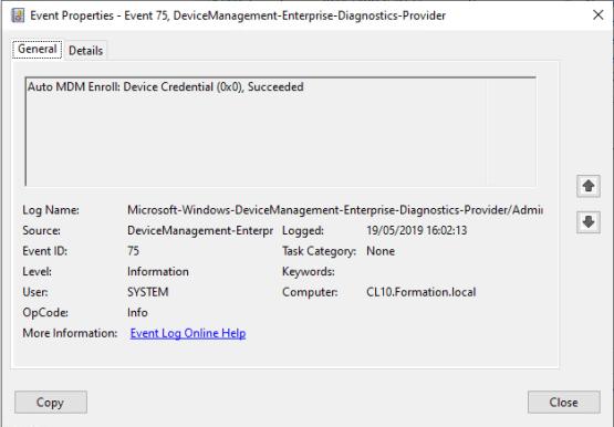 Event id 75, auto-enrollment work fine Windows 10 Auto-enrollment