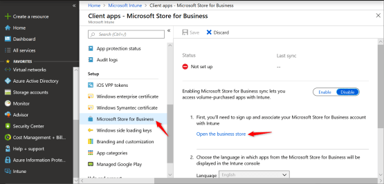 Configure Windows Store for business into Microsoft Intune