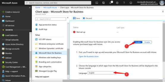 Enable the Microsoft Strore for business and select language