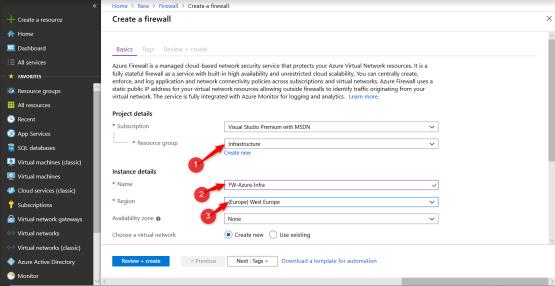 Configure properties of Azure Firewall.