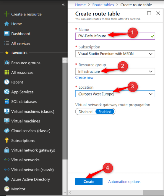 Create route table on Azure firewall