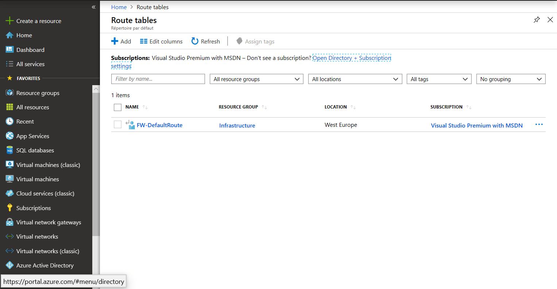 Route has present on Azure Portal