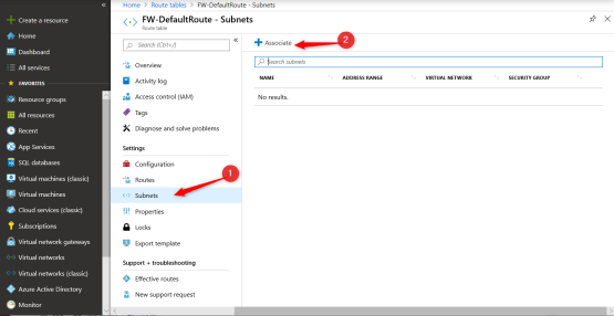 Associate Subnet to the Default Rules azure firewall