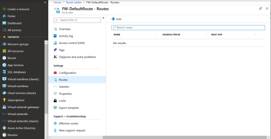 Add new default route for azure firewall