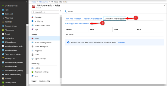 Add application rule collection on Azure Firewall