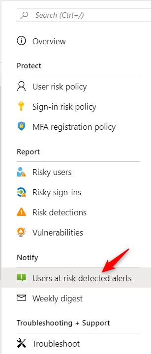 Identity Protection Configure notifications on Azure AD Identitiy Protection