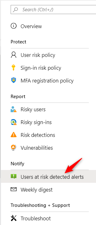 Identity Protection Configure notifications on Azure AD Identitiy Protection