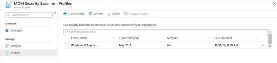 Profile has been present on Intune Portal for security baseline
