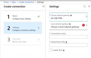 Select virtual network gateway