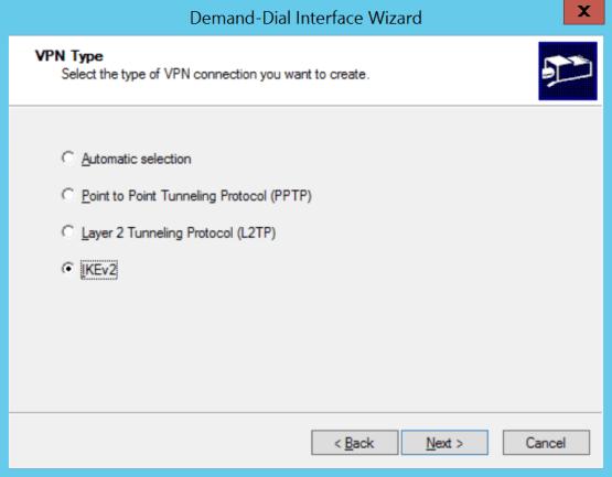 Select protocol for VPN