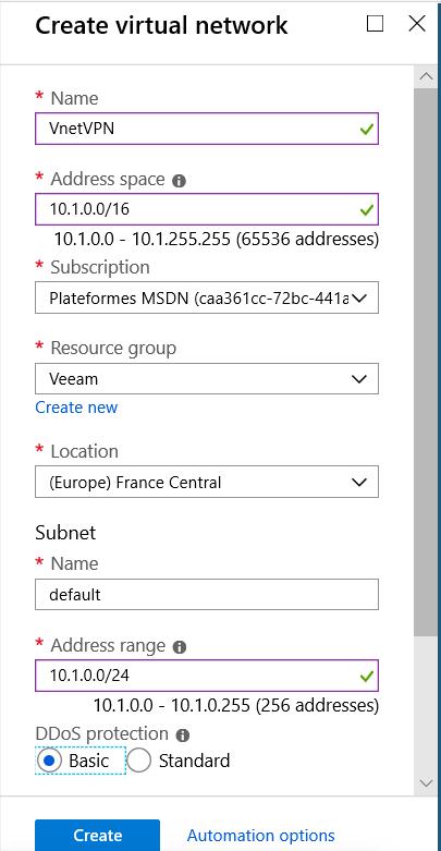 Create virtual network for VPN Azure