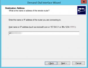 Enter IP address of Gateway Azure