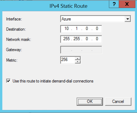 Add new IPV4 static route