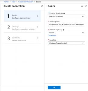 Configure connection for Azure VPN
