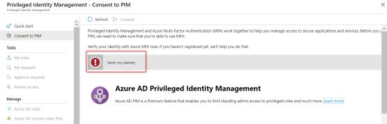Azure PIM - Verify my Identity