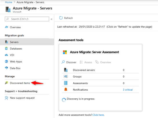 Azure Migrate - Discovered items