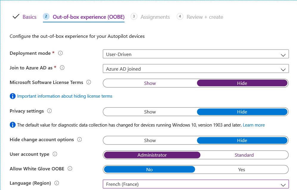Implement AutoPilot - Configure OOBE Option