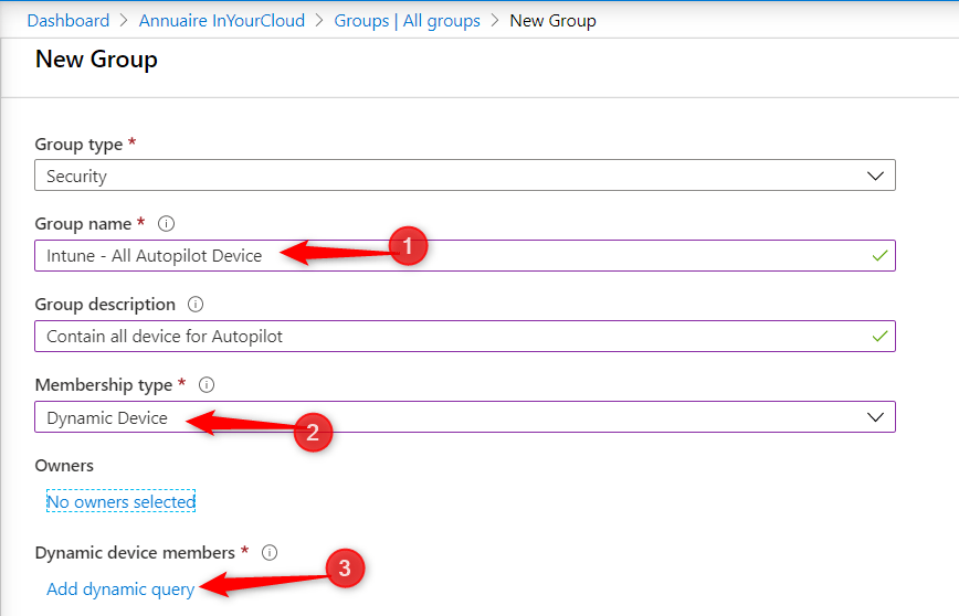 Create dynamic group