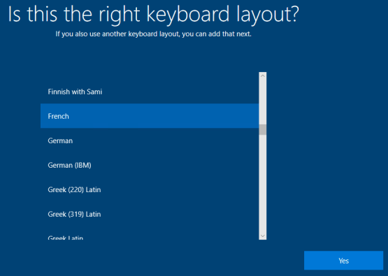 Select keyboard layout