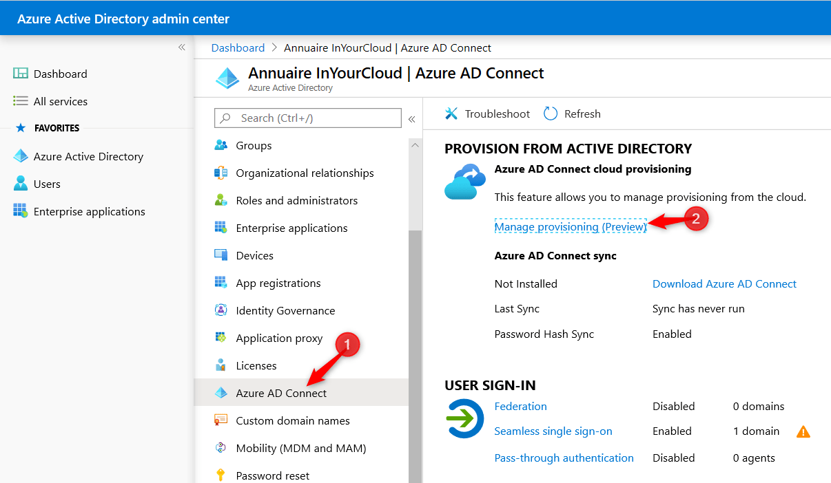 Azure AD Connect - Cloud Provisionning